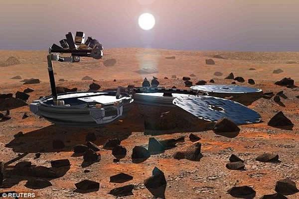 """这是2002年5月制作的一副示意图,展示正在火星表面工作的英国""""猎兔犬-2号""""探测器。按计划这艘飞船应在2003年的圣诞节当天着陆火星"""