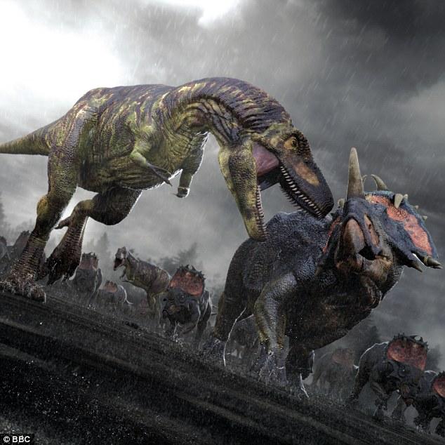 最新研究表明,小行星碰撞地球之前现今欧洲境内曾存活着大量恐龙,如图所示,这是艺术家描绘的白垩纪时期惧龙(左侧掠食者)正在攻击一群刺角龙。