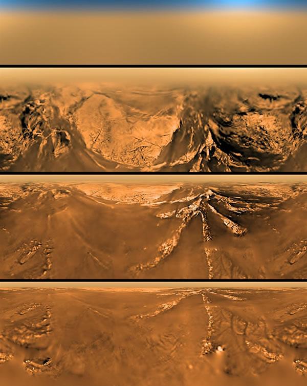 图为探测器从四个不同角度拍摄的土卫六地表。
