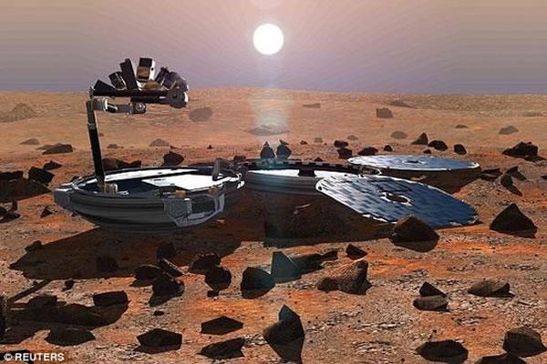 """示意图:正在火星表面工作的""""猎兔犬-2号""""探测器"""