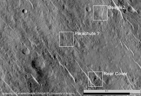 """失踪十余年 英国火星着陆器""""猎兔犬""""号重现"""