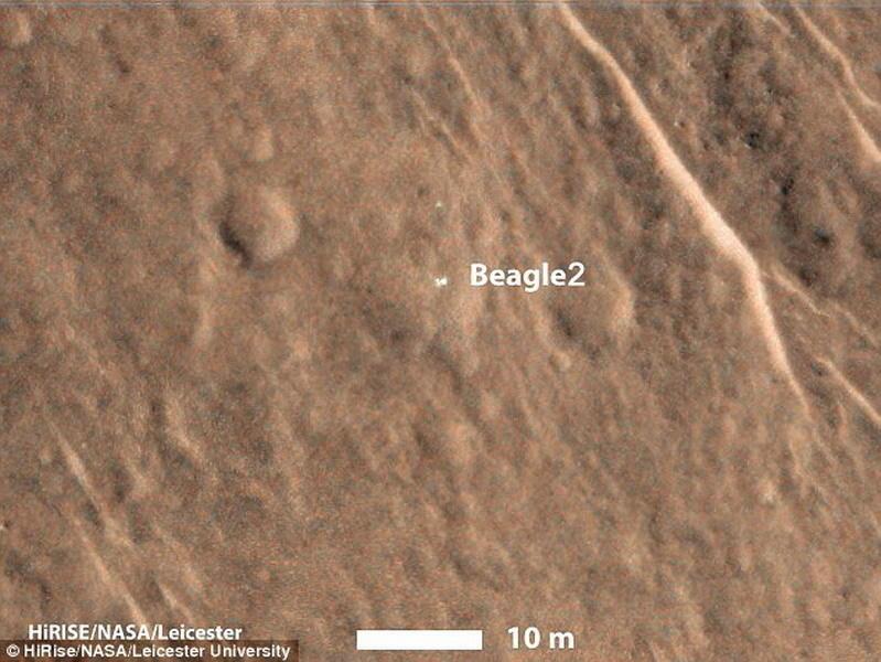 """这张照片是火星勘测轨道飞行器的高分辨率成像科学实验相机(HiRise)拍摄的,显示一个物体位于火星表面,科学家鉴定分析之后认为这是失联12年的""""猎犬兔2号"""",它"""
