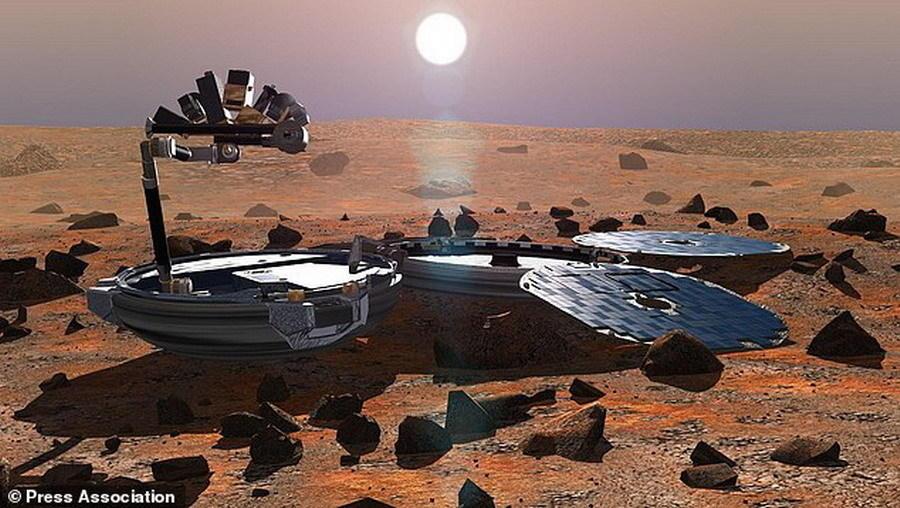 """如图所示,这是艺术家绘制的""""猎犬兔2号""""火星登陆器着陆照片。据悉,2003年6月2日,由英国负责研制的欧洲第一颗火星登陆器""""猎犬兔2号""""搭载""""火星快车""""发射升空"""