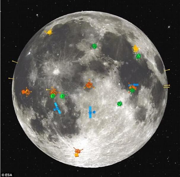 """到目前为止,研究人员开始置疑为什么月球近地一侧有大量表面特征,例如:""""月球上的人"""",而远地一侧却缺少表面特征。如图所示,这是各种探测器对月球近地一侧的勘测点,而"""