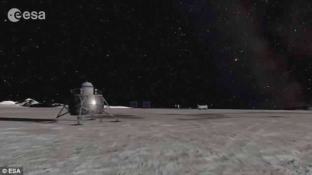 艺术概念图,展示了在月球表面着陆的载人登陆器。月球暗面拥有太阳系内其中一个最大的冲击坑,据信在40亿年前形成。这个撞击坑永远处在黑暗中,但边缘的巨大山峰却几乎始
