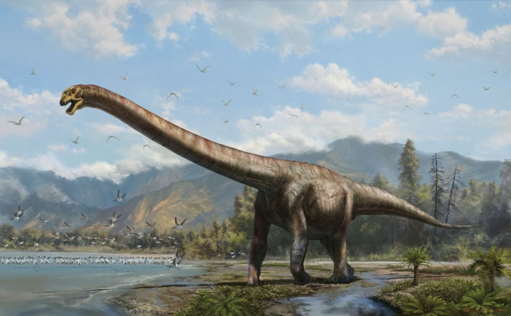 艺术家描绘的綦江龙。这个新种长颈龙于1亿6000万年前生活在现在的中国南方。 (绘图:张宗达)