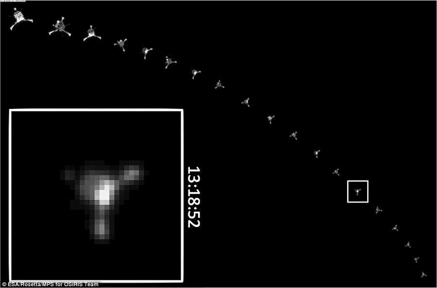 """""""菲莱""""探测器首次建立联系是在拍摄这张照片之后的几个小时,它未能发射鱼叉状锚定装置,导致完全着陆之前两次""""弹跳""""。"""