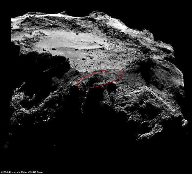 """图中是""""菲莱""""探测器的搜寻区域,目前,""""罗塞塔号""""飞船已抵达另一个轨道位置,与67P彗星距离较远,从而直接观测""""菲莱""""探测器登陆地点的概率更低。"""
