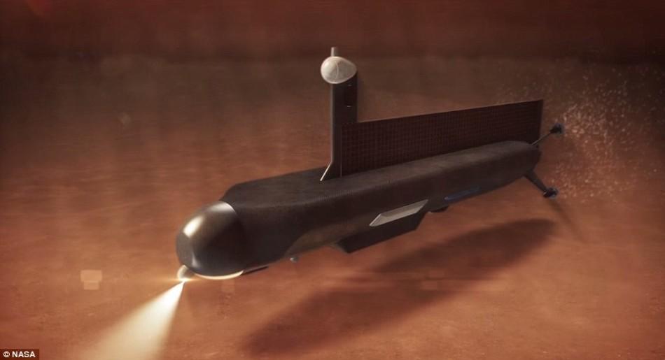 """如果说把一辆小车送上火星在你看来还不够疯狂,那么现在美国宇航局正准备把一艘潜艇送上土卫六。图为这种""""土卫六潜艇""""构想图。"""