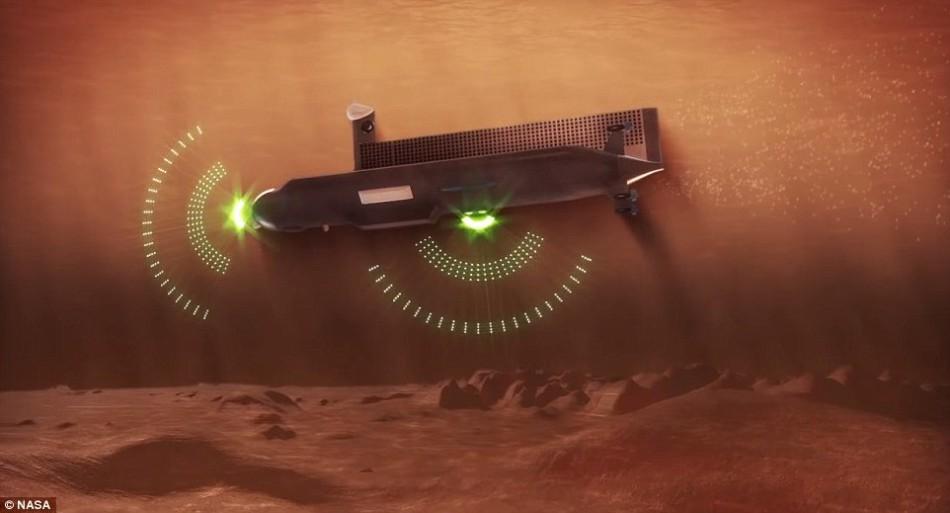 """构思中的这项""""星际潜艇""""重量约1吨,将使用传统的电推进系统,在土卫六的海洋里执行为期90天的任务。"""