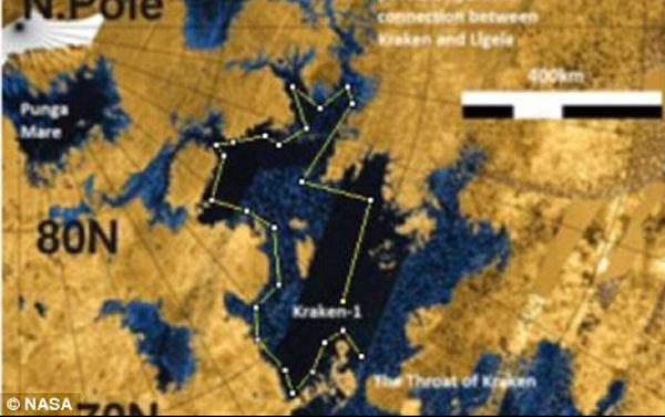 克拉肯海覆盖面积超过40万平方公里,深估计约300米,其大小可以与北美洲的五大湖相媲美。美宇航局称他们打算使用一种带翼的飞行器来向土卫六上释放这艘潜艇,其有点类