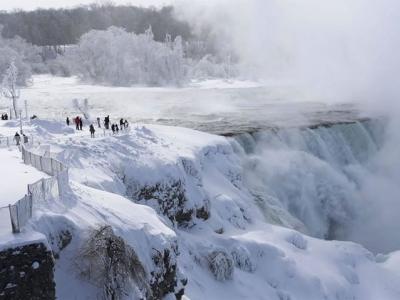 美国现冰雪奇景 尼亚加拉瀑布结冰