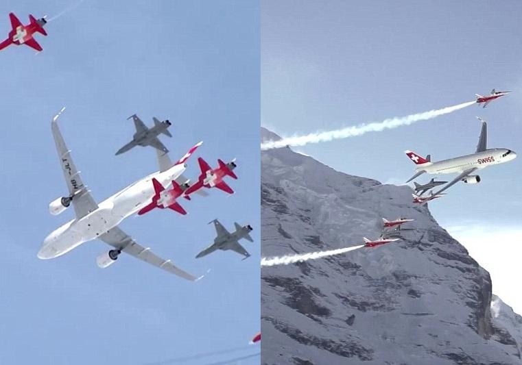 瑞士雪山区举行飞行表演