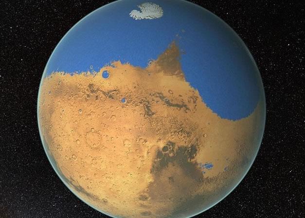科学家推测火星的水份大多位于北半球