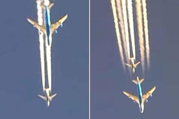 视频截图:其中一架波音747突然加速,超过了另一架波音737,但仅仅过了几秒钟,波音737也开始加速,超越了波音747。随后,两架飞机开始互相追逐,都想飞得比对