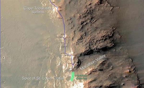 NASA火星探险车机遇号的路线,当到达图中的绿色区域时,它的总行程将等于马拉松。