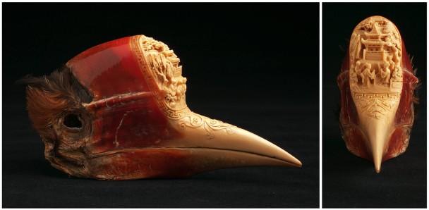 盔犀鸟的头骨会被雕刻加工,成为装饰品。