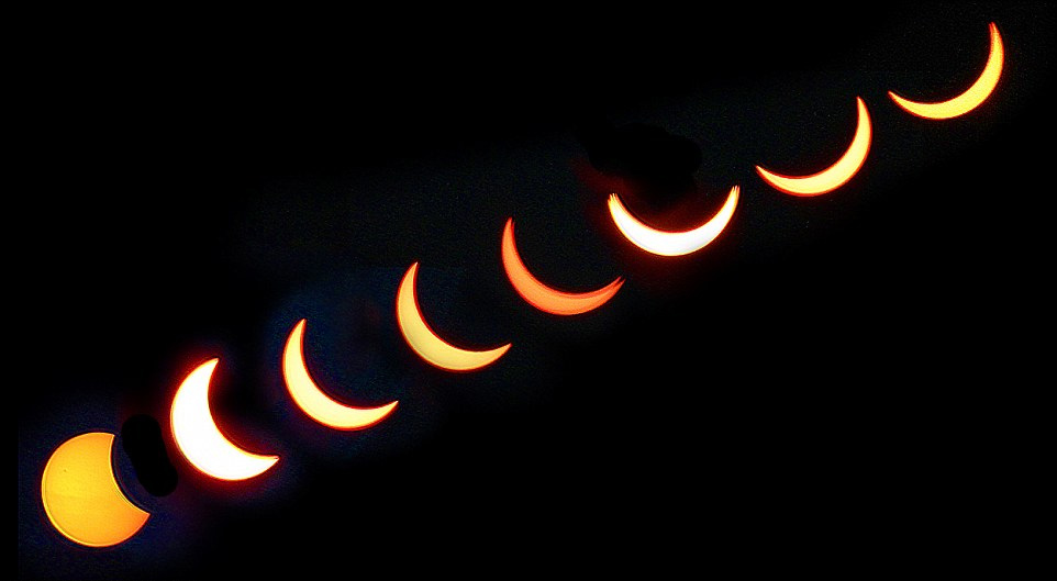 图为英国格洛斯特郡拍摄到的日食系列照片,而英国下次观测到日食要等到2026年。
