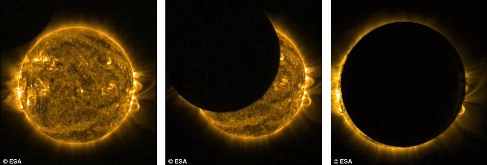 欧洲航天局的太阳观测微型卫星拍摄到的日食照片,显示了月球遮挡太阳的全过程。