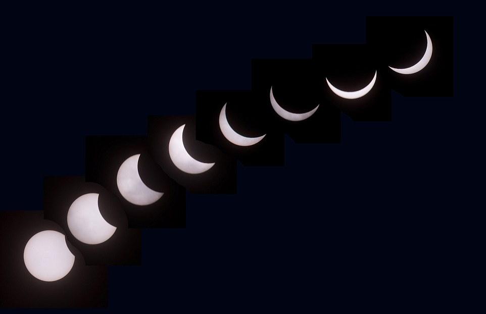 从彭赞斯看到的日食,这组照片间隔5分钟拍摄,可以看到日食的变化。