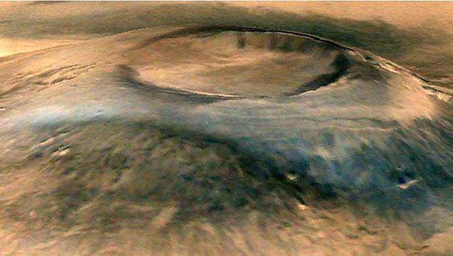 火星飞船去年成功进入火星轨道。图为火星飞船拍得的照片。