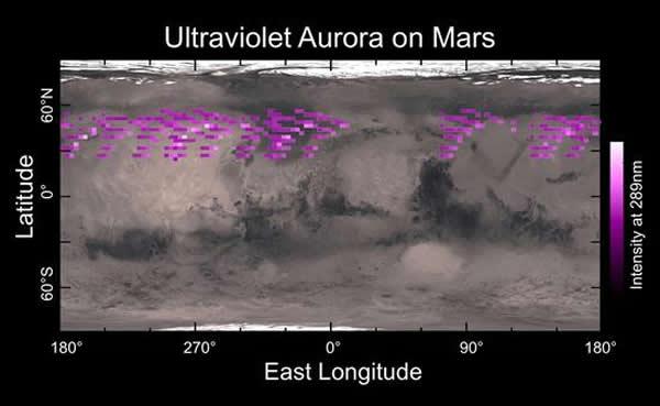 """MAVEN飞船搭载的""""成像紫外光谱仪""""(IUVS)2014年12月间探测到的火星上空极光分布区示意图。可以看到在火星北半球广泛分布极光区域,且并未显示与任何地面"""