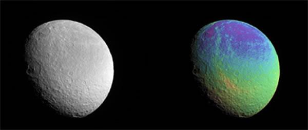 """2015年2月9日卡西尼探测器拍摄的土星冰卫星""""土卫五"""",距离该卫星大约5万至8万公里,图像中可观察到土卫五表面细微的颜色变化"""