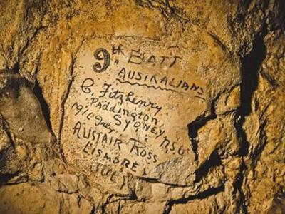 法国北部一条地道的墙壁上留下不少一战士兵的涂鸦