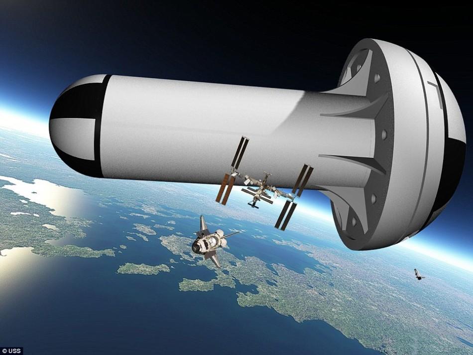 """美国""""联合太空结构""""公司计划建造一座新型空间站。在设计上,这座新空间站呈蘑菇形,将环绕垂直轴旋转,每分钟旋转4.22周,以形成人造重力。完工后的""""太空蘑菇""""直径"""
