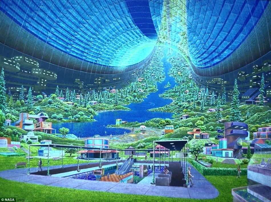 """在联合太空结构公司之前,科学家就曾多次考虑建造可通过旋转产生人造重力的空间站,其中最引人注目的当属""""斯坦福环""""(如图)。旋转空间站允许里面的人员像在地球上一样生"""