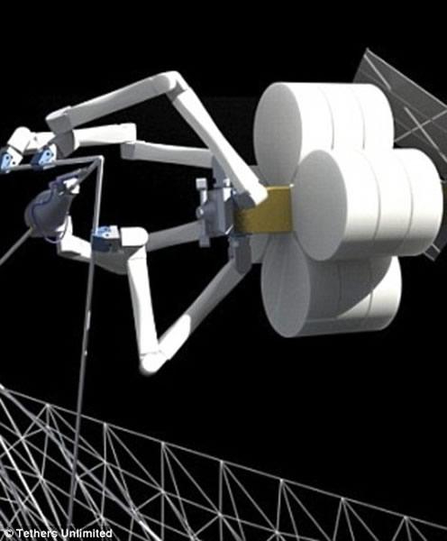 """不久前,美国Tether公司公布了一种具有未来派色彩的机器蜘蛛系统,名为""""SpiderFab""""(左图),可用于在太空建造太阳能电池板、桁架以及飞船的其他组件。右"""