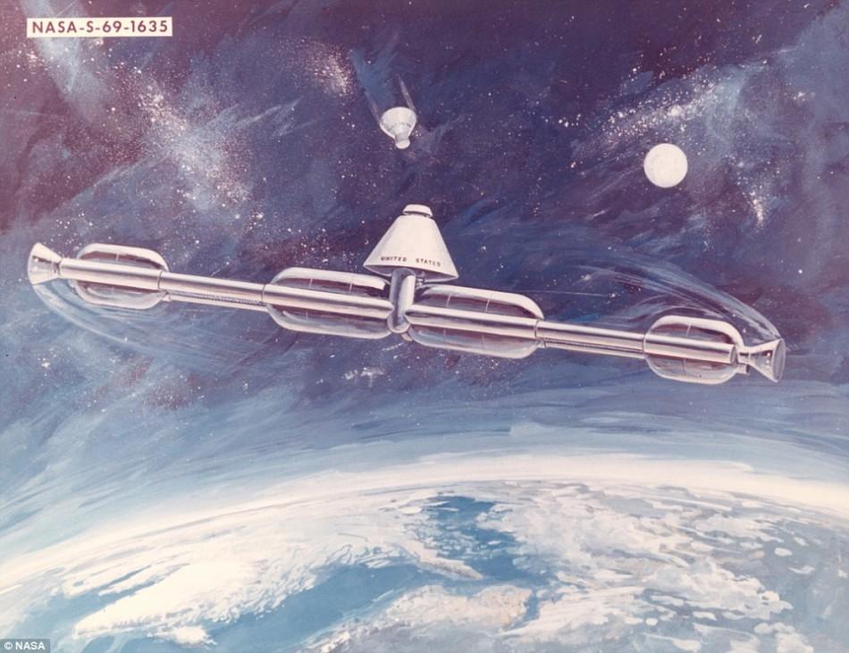 1969年提出的空间站设计,环绕中央轴旋转以产生人造重力。绝大多数早期空间站设计都通过这样或者那样的方式产生人造重力,让宇航员拥有更自然或者更熟悉的重力环境,确