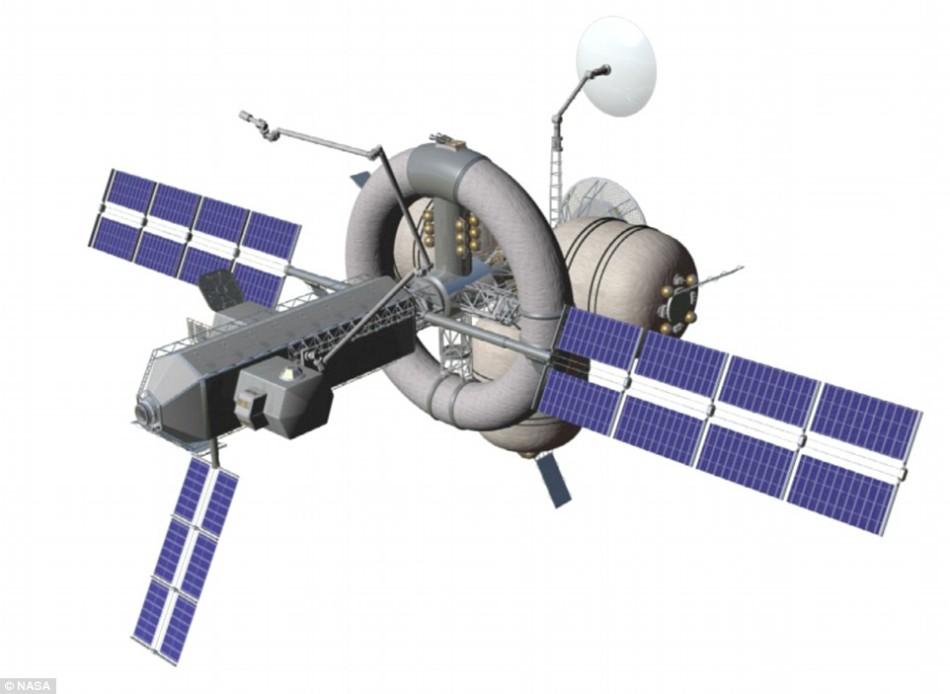 """美国宇航局提出的""""鹦鹉螺X""""空间站设计,呈面包圈形,中央的结构可以旋转以产生人造重力。在设计上,这种空间站可用于执行月球、火星或者更远太空目的地的探索任务。"""