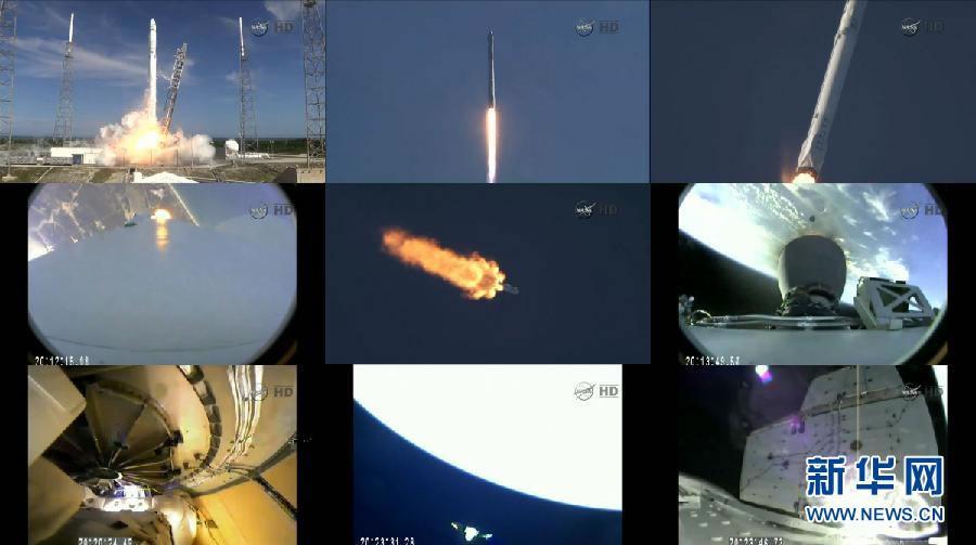 """美国航天局4月14日发布的视频截图拼版照片显示,搭载""""龙""""飞船的""""猎鹰9""""火箭从佛罗里达州卡纳维拉尔角空军基地升空到飞入太空的过程。"""
