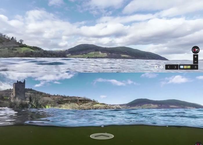 透过Google街景,可从不同角度观看尼斯湖附近,以至水下的景况。
