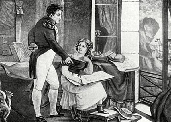拿破仑一世战败后被放逐到海伦娜。图为一幅他与一名女性友人交谈的画像。