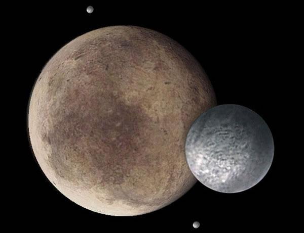 冥王星曾是太阳系9大行星之一。图为画家笔下的冥王星及其卫星。