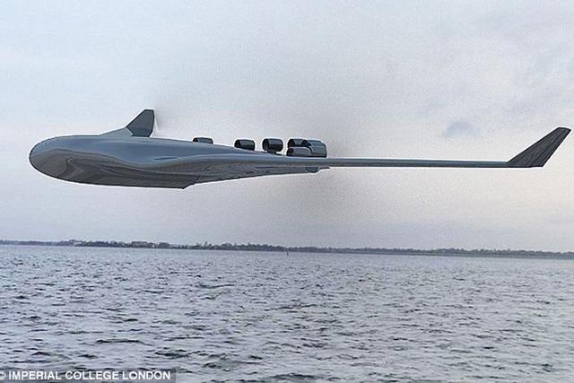 伦敦帝国理工学院设计的巨型水上客机载客量达到2000名,使用了飞翼造型,下机身为船型结构