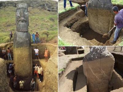 智利复活节岛上的毛埃石像(Moais)背后竟然有纹身