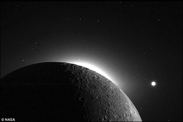 那是运用宇宙飞船拍摄的日冕战黄道光(CZL)照片,其时太阳位月球前方。月球边沿的红色地区是CZL,而顶部的亮里是金星。