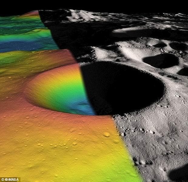 """美国宇航局计划将月球南极一处陨坑改造为""""阳光绿洲"""",在陨坑内铺设太阳能变压器,为机器人提供动能。"""