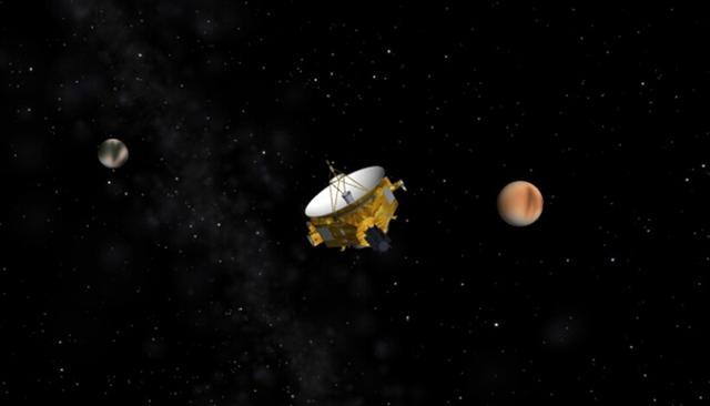 """""""新视野号""""飞越冥王星和卡戎示意图"""