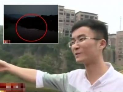 四川达州市宣汉县惊现牛头水怪?体型庞大河面翻腾