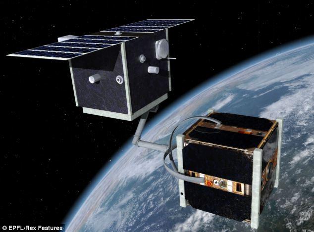 """2012年,瑞士洛桑联邦理工学院宣布,计划设计并推出""""清洁太空一号""""(Clean Space One)卫星"""