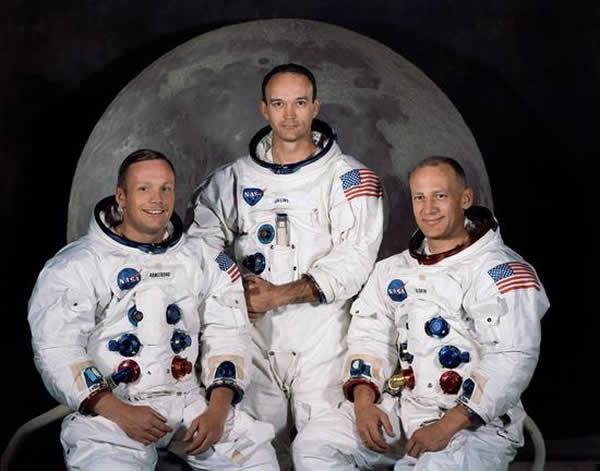 阿波罗11号的三名宇航员:阿姆斯特朗,奥尔德林以及柯林斯