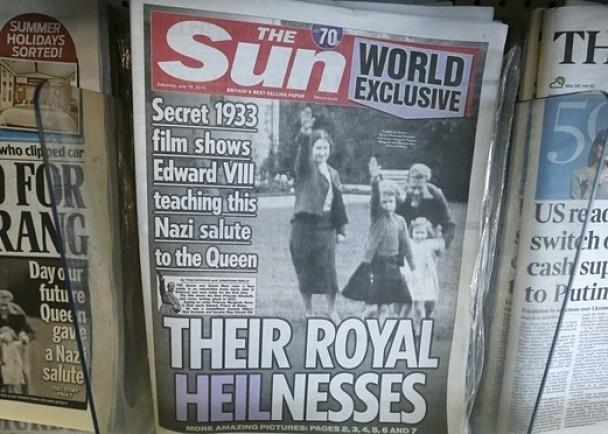 英国《太阳报》刊登英女王作纳粹式敬礼的照片