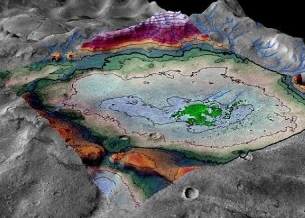 火星表面有乾涸的盐湖,可能曾有生命迹象。