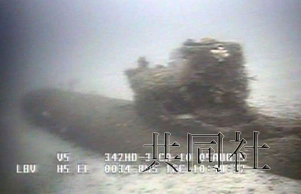 """日本静冈县海底发现疑似二战日军双人潜艇""""海龙"""""""