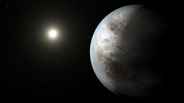 艺术家描绘的Kepler 452b行星环绕Kepler 452恒星运行,它距离地球1400光年。