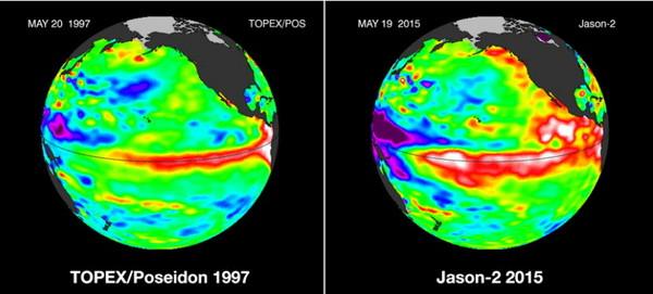 左为1997年时高于平常的海平面温度(红色区块)图。右为今年的海平面温度图。
